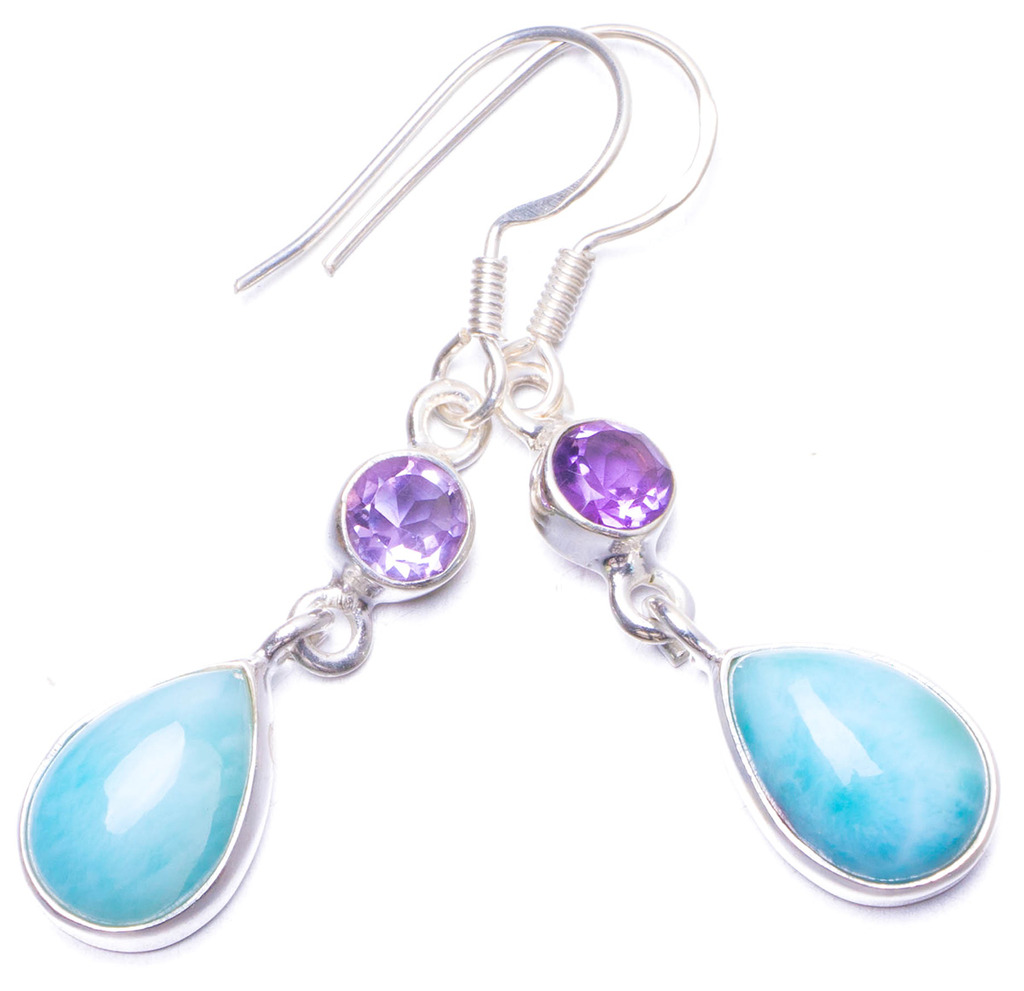 Natural Caribbean Larimar and Amethyst Handmade Unique 925 Sterling Silver Earrings 1.5 Y1132