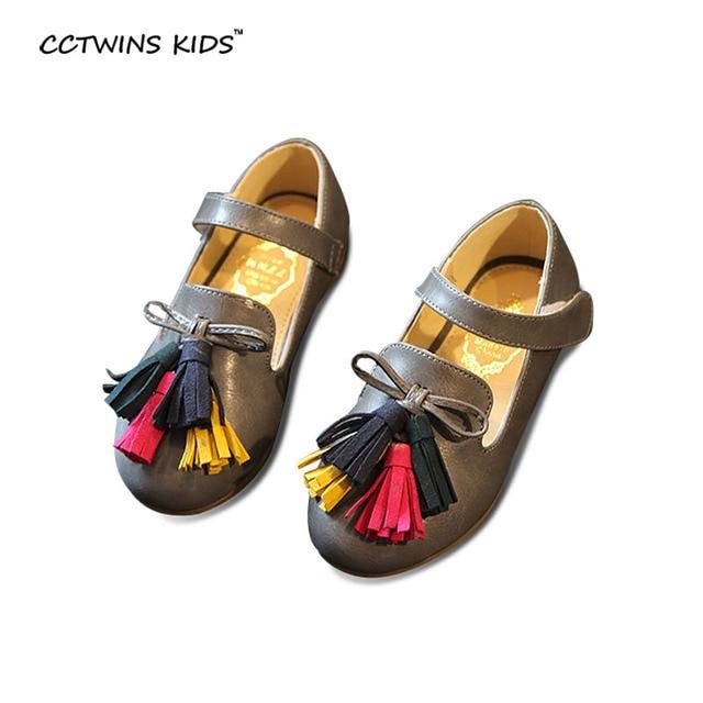 CCTWINS KIDS spring autumn baby fashion fringe shoe for girl children pu leather flats toddler brand dance tassel ballet red