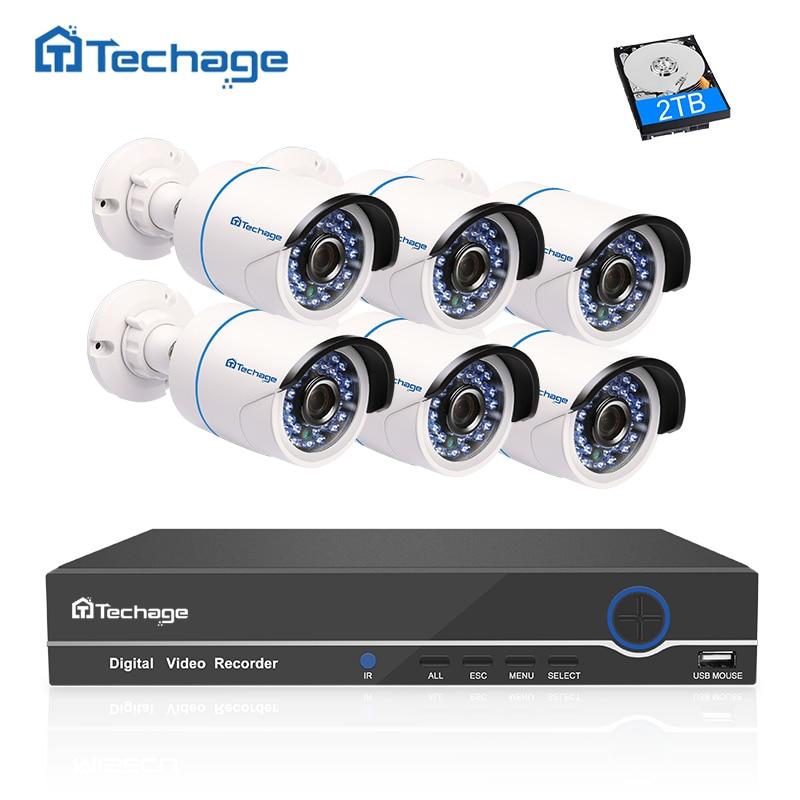 Techage 1080P HD CCTV Camera System 8CH POE NVR 2MP Indoor Outdoor 6PCS Security IP Camera