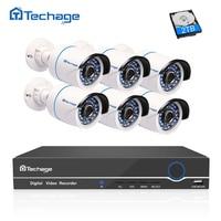 Techage 8CH 1080P 48V POE NVR CCTV System 6PCS 2 0mp Poe IP Camera Waterproof IR