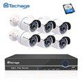 Techage 2MP 8CH POE NVR 1080 p HD CCTV Sistema de Câmera Ao Ar Livre Indoor 6 pcs P2P IP Câmera de Segurança de Vídeo kit Sistema de vigilância