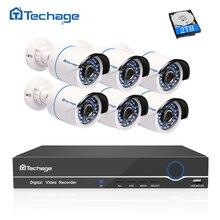Techage 8CH 1080P NVR Kit POE Security Camera CCTV System 6PCS P2P Onvif POE IP Camera Outdoor IP66 Waterproof Surveillance Set