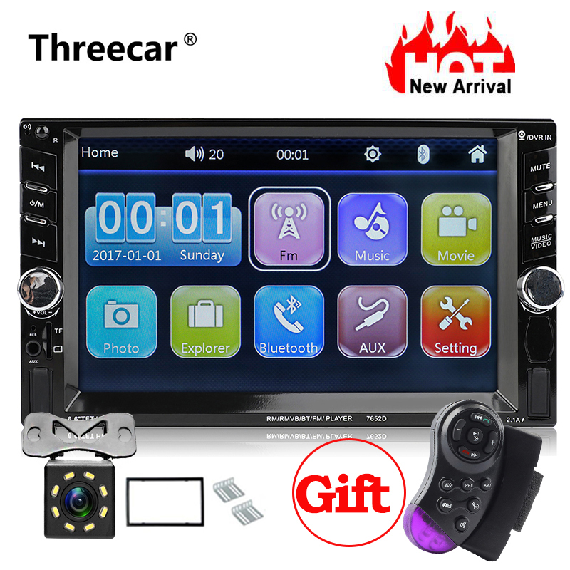 7652D 2din car radio autoradio auto player bluetooth rear view camera car audio Support Android Mirror Link free Steering Wheel