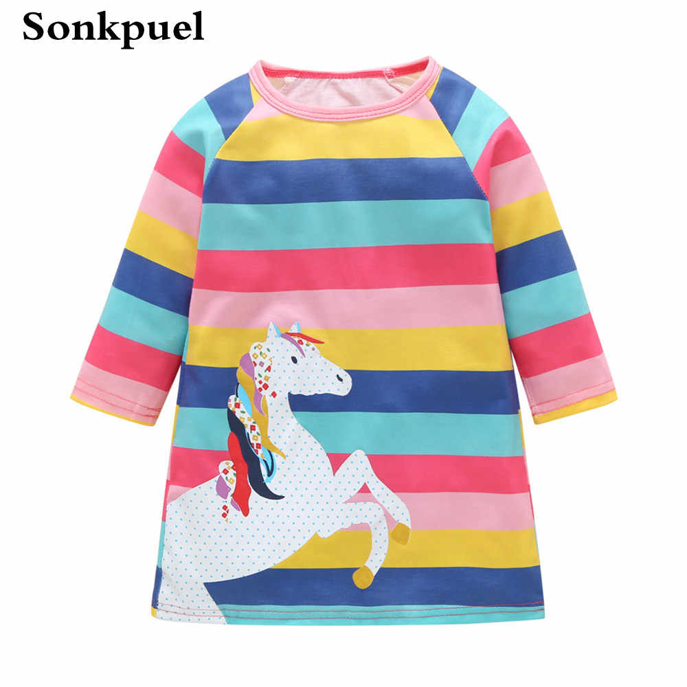 2019 г. Детское платье для девочек летняя детская одежда хлопковые платья с длинными рукавами для малышей платье принцессы в полоску для дня рождения