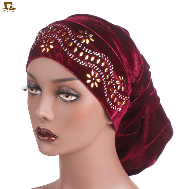 New Diamante Velvet Pleated Turban Dreadlocks Sleeping Cap Baggy Hat For Hair Loss Muslim Slouch Caps Hair Accessories