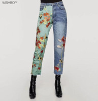 WISHBOP NEW 2018 Spring Woman Vintage Hot Novelty HIGH WAIST JEANS One Leg WITH SATIN Flowers EMBROIDERY Panel Frayed hems Pants