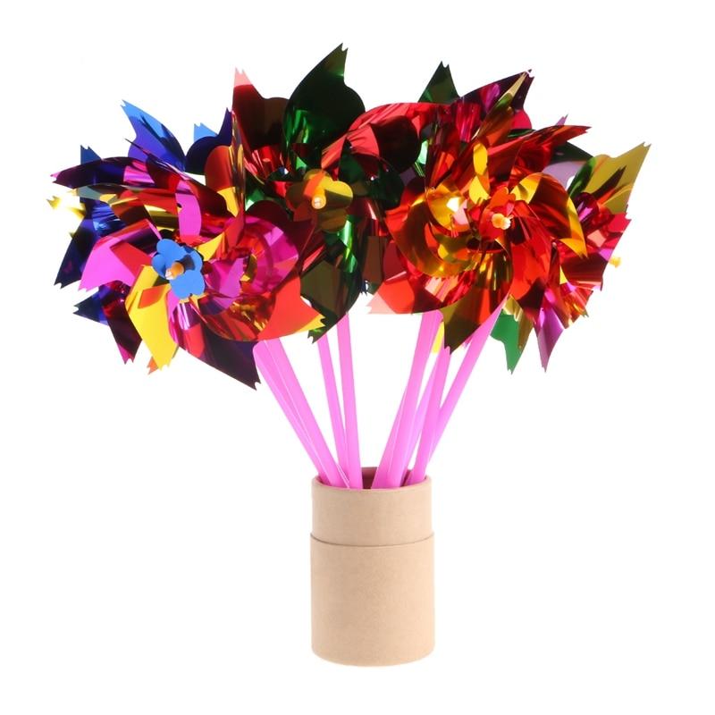 10Pcs Plastic Windmill Pinwheel Wind Spinner Kids Toy Garden Lawn Party Decor Hot!