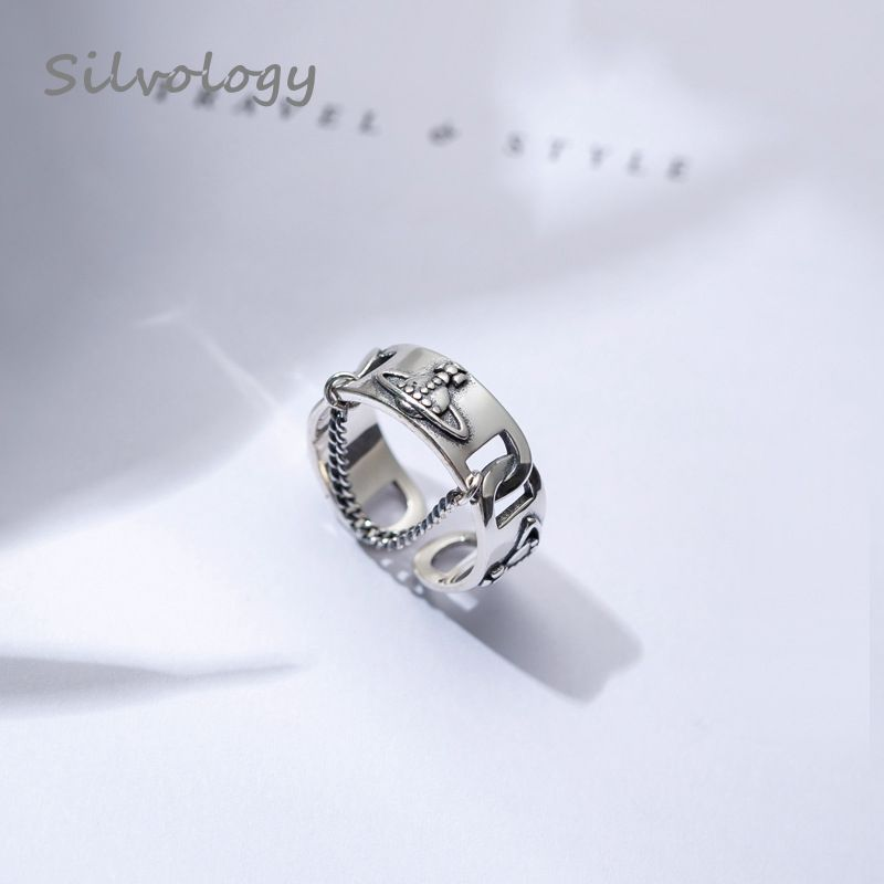 Silvology 925 Sterling Silver Chain Saturn Rings Silver Vintage Weave Texture New Open Rings For Women 2019 Summer Jewelry Gift