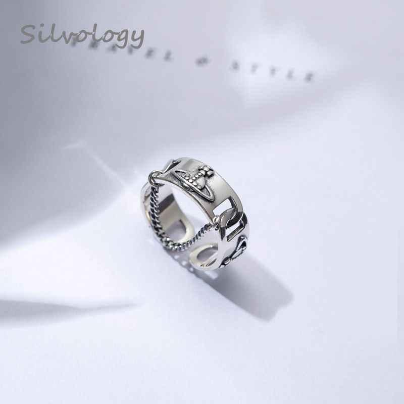 Silvology 925 เงินสเตอร์ลิงดาวเสาร์แหวนเงิน Vintage สาน Texture ใหม่เปิดแหวนผู้หญิง 2019 ฤดูร้อนเครื่องประดับของขวัญ