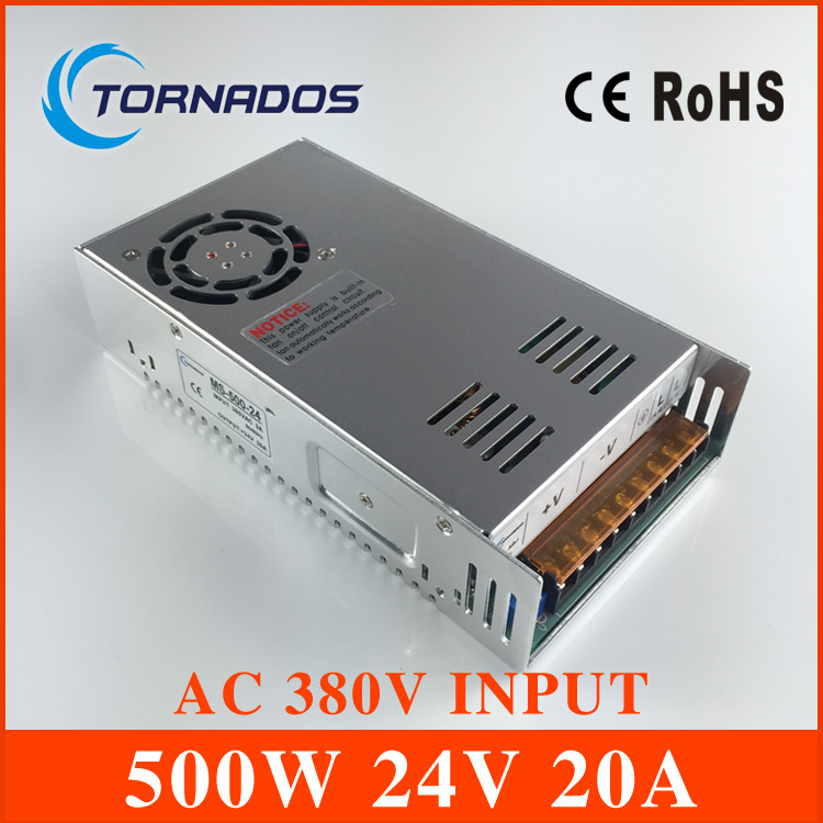 все цены на AC 380V input 24V 20A output 500W AC-DC switching power supply of high reliability industrial switch power supply MS-500-24 онлайн