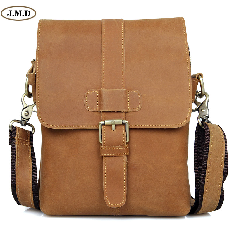 J.M.D Hot Selling High Quality Genuine Leather Brown Crossbody Bag Fashion Simple Design Zipper Top Closure Shoulder Bag 1005B hot selling 2017nipon jjuya high quality genuine leather zippy wallets with dust bag and box free shipping