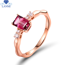 Real 18K Rose Gold Ring Engagement Diamond Natural Pink Tourmaline For Birthday Party Jewelry