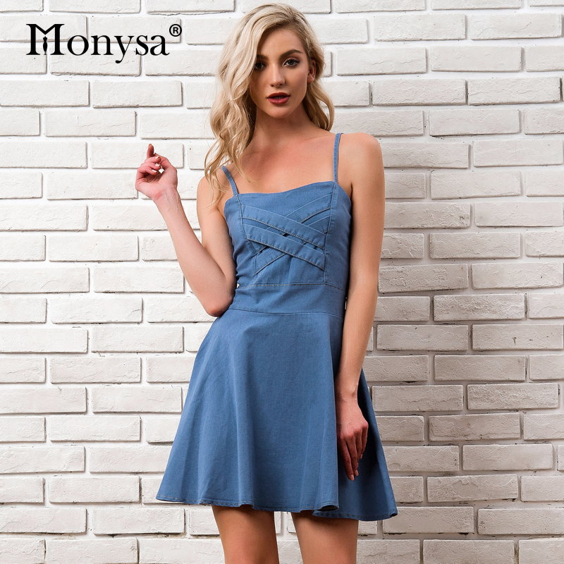 7f912d02f92 Denim Jeans Women Dress Summer 2018 Newest Spaghetti Strap Party Elegant Dresses  Ladies Casual Streetwear Blue
