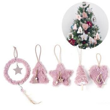 5pcs/set Creative Plush Christmas Tree Hanging Pendant Pink White Heart Star Feather Ornament Christmas Decoration for Home Xmas cute angel doll christmas decoration pendant 2020 christmas tree hanging ornament christmas decoration for home xmas navidad