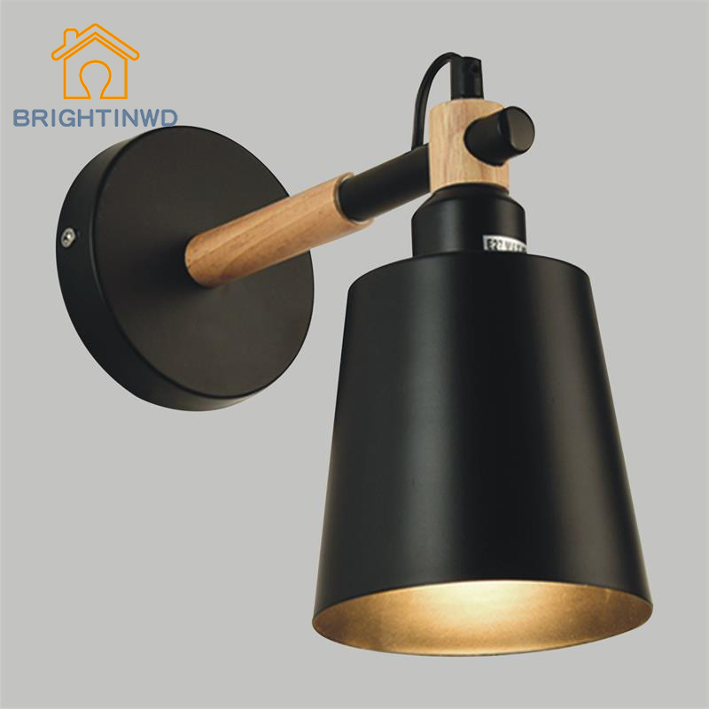 BRIGHTINWD Nordic Creative Corridor Aisle E27 Wall Lamp Simple Bedroom Bedside Light Wood Art Living Room Wrought Iron Wall Lamp nordic style retro light creative 1 lamp holder corridor bedside deco sconce wall lights contracted wrought iron wall lamps