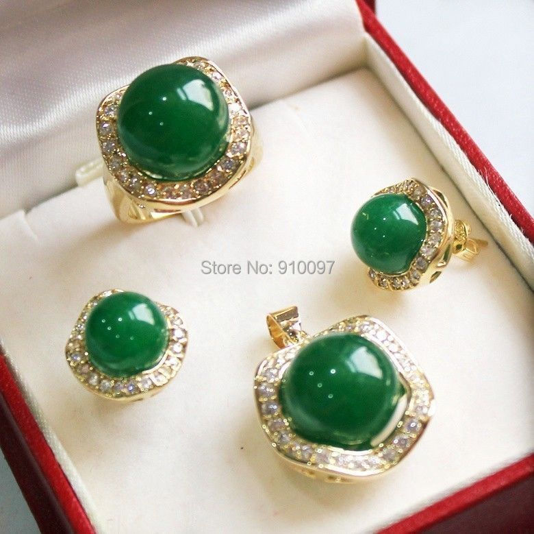LHX54016>>Natural Green * Natural stone Fashion Fancy earrings pendant Ring Noble Crystal Set