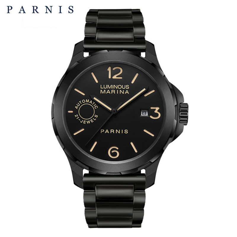 2018 New Arrival Parnis 44m Mens Watches Mechanical Watches Luminous Waterproof Black Watch Men Gift