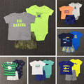 New2017 Summer Baby Boy Cloting set Bodysuit Tshirt Solid Shorts 3 Pcs  Bebes Newborn Soft Cotton bodysuit Short Pants set