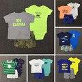 New2017 Verano Bebé Cloting set Body Camiseta Shorts Solid 3 Unids Bebes Recién Nacido traje De Algodón Suave Pantalones Cortos establecidos