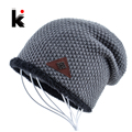 Mens hat winter skullies snowflake logo knitted wool hat plus velvet hip hop cap gorro thicker bonnet beanie for men hats touca