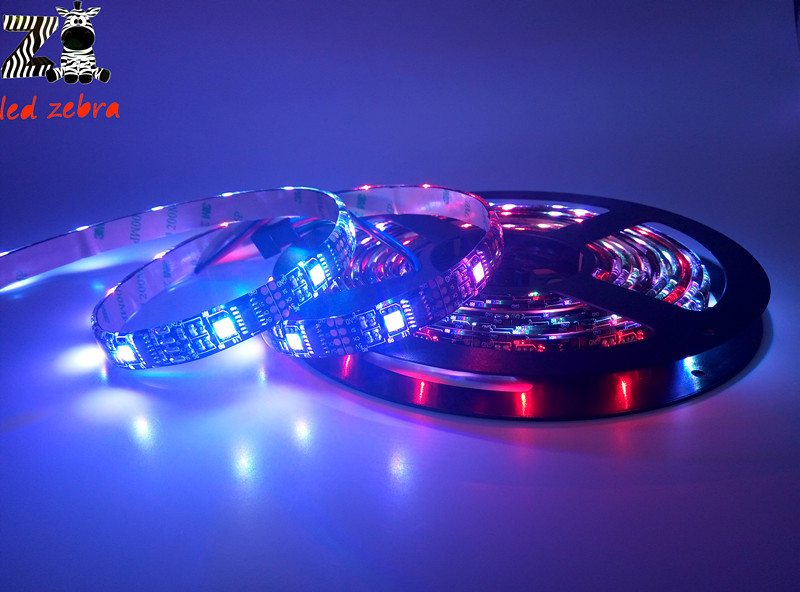 4pcs ws2801 32ic/m led strip, waterproof ip65 ws2801 led lights ,12mm black/white pcb Individually addressable dc 5v