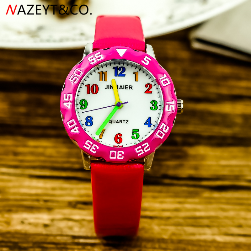 Drop Shipping Kids 3D Wristwatch Boys And Girls Simple Dial Color Scale Easy Learn Time PU Learther Strap Birthday Gift Watch