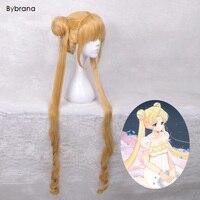 Bybrana Anime Sailor Moon 100 CM Lange Rechte Linnen Goud Haar Pruik 100% Hoge Temperatuur Fiber Cosplay Pruik Halloween Party pruik