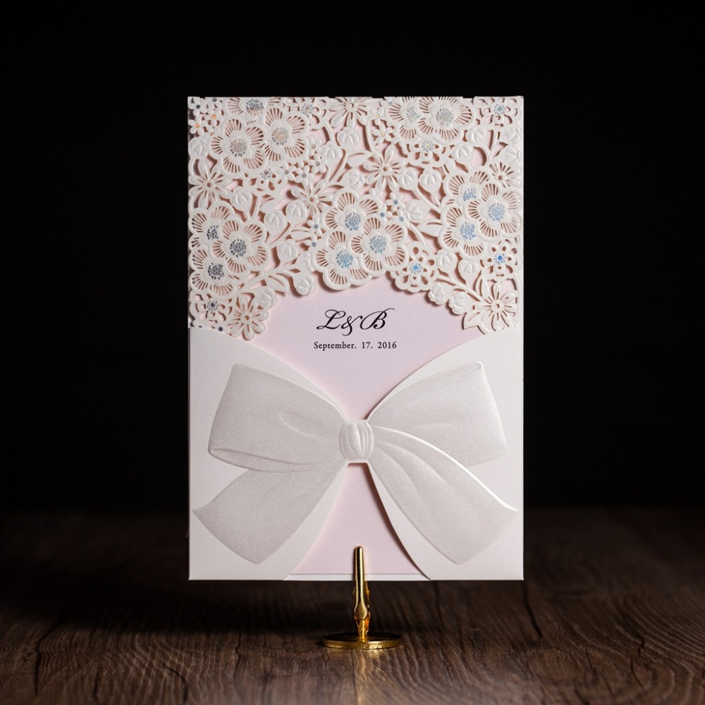 Cw5186 White Royal Wedding Invitation Card Greeting Card With Laser