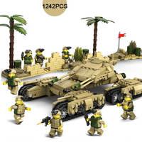 1242PCS Military Tank War M1A2/T90/Challenger 2/Leclerc Main Battle Tank Model Building Block 4IN1 Mammoth Tanks Blocks DIY Toys