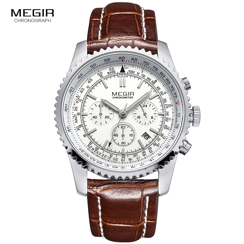 Hot Megir Casual Brand Men's Quartz Watches Luminous Stop Watch For Man Analog Wrist Watch With Calendar Male 2009 Free Shipping