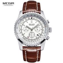 hot Megir casual brand mens quartz watches luminous stop watch for man analog wrist watch with calendar male 2009 free shipping