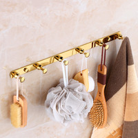 Robe Hooks Total Brass Row Hooks Wall Mounted Gold Clothes Rack Cloth Hook Wall Hook For Bathroom Accessory Key Hanger Useful