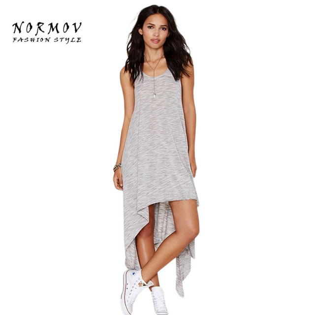 Normov Для женщин нерегулярные жилет платье хлопок o-образным вырезом без рукавов ботильоны-Длина одноцветное сарафаны модные Vestido/Платье Для женщин