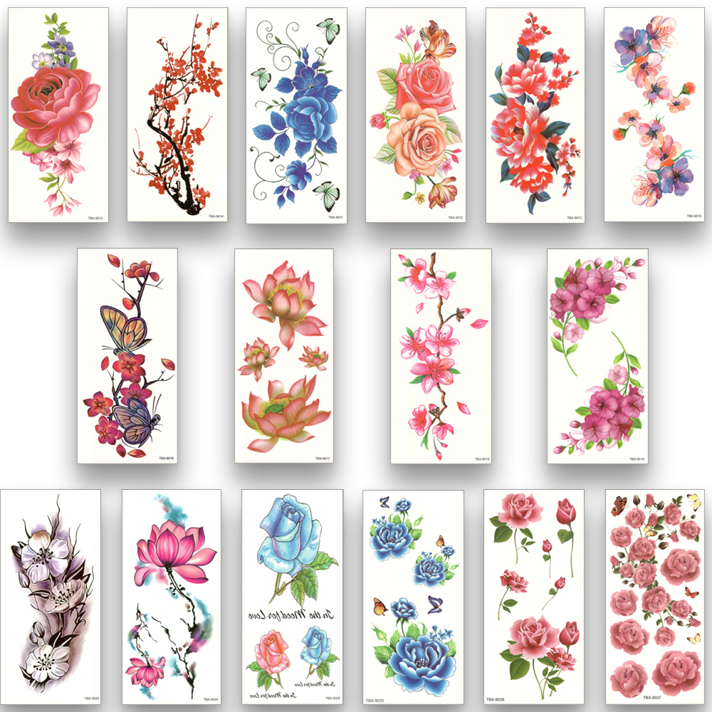 <font><b>16</b></font> sheets waterproof temporary tattoo water transfer flower stickers beauty health body arm art women girl <font><b>female</b></font> <font><b>sexy</b></font> makeup image