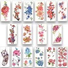 16 hojas a prueba de agua tatuaje temporal transferencia de agua flores pegatinas belleza salud cuerpo brazo arte mujer chica mujer maquillaje sexy
