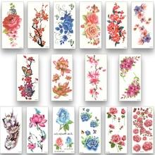 16 sheets waterproof temporary tattoo water transfer flower stickers beauty