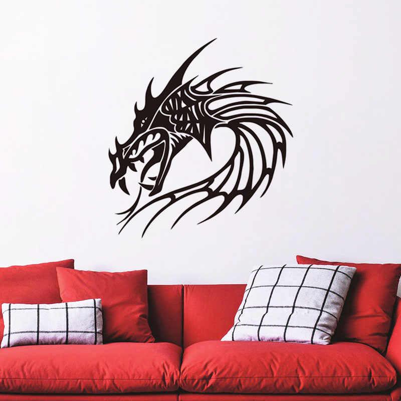 Animais Cabeça De Dragão de Vinil Adesivo De Parede Removível Sala Adesivos de Parede Decorativos
