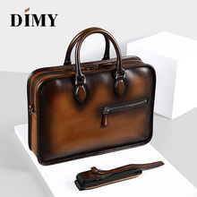 DIMY Vintage Handmade Italian Genuine Leather Briefcase Men Hand Patina Messenger Shoulder Bags Laptop Business Case Men's Bags