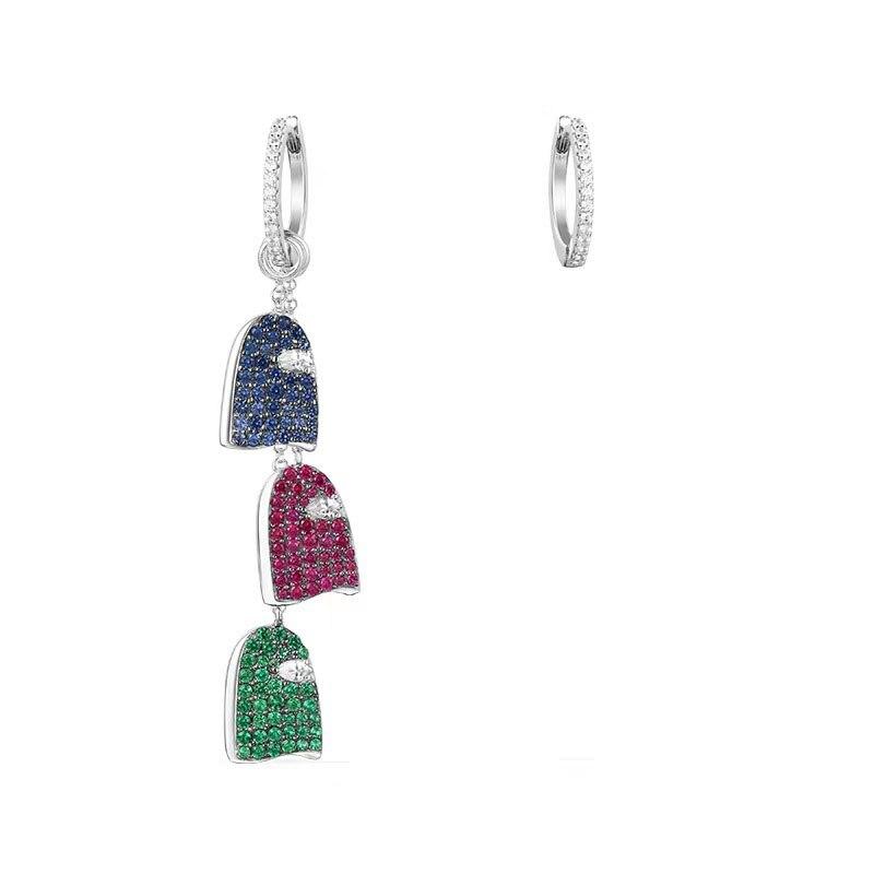 SLJELY 925 Sterling Silver Colorful Cubic Zirconia GHOST GANG Asymmetric Earrings Women Girl Monaco Jewelry Love