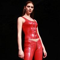 Sexy PVC Shiny Short Tank Top Women PVC Faux Leather Zipper Bandage Short Vest Tops Punk Stage Clothing Top Vest Plus Size