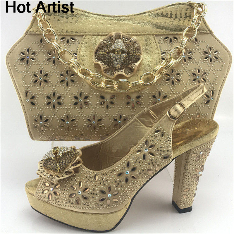 Hot Artist New Nigerian Decorated With Rhinetsone Women Shoes And Bag Set For Party Africn Shoes And Bag Set Size 38-42 ME7713 characteristic floral and butterfly shape lace decorated body jewelry for women