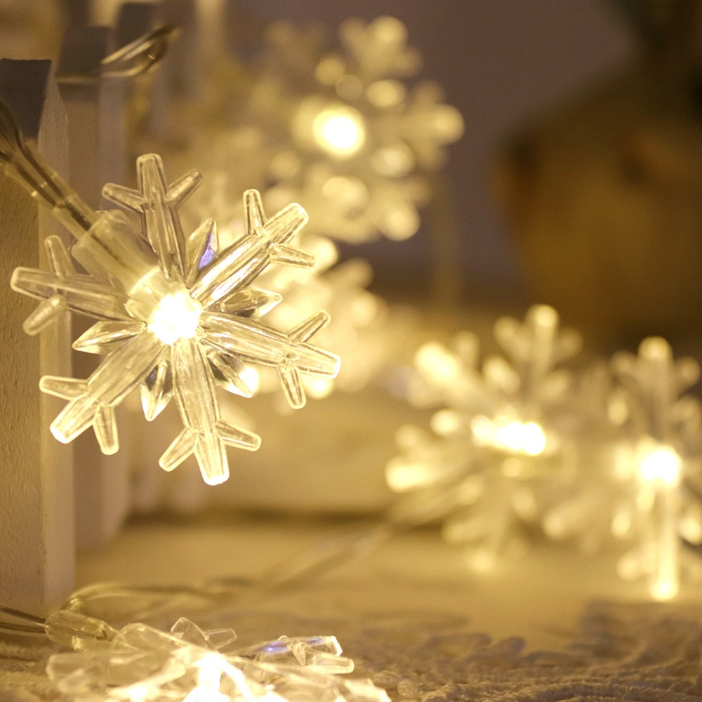 LED Garland Holiday Light Christmas String Light 10 Snowflake Fairy Gift Lanterns Wedding Party Bedroom Decoration HQ