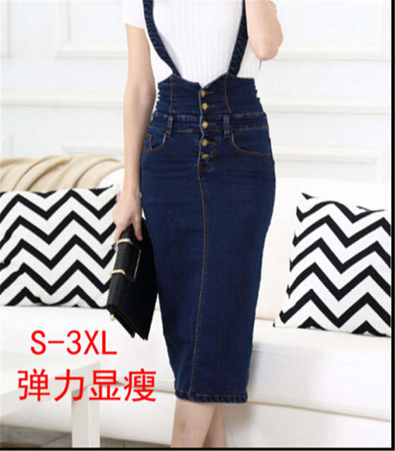 6118205f30d placeholder High Waist Suspender School Girl Skirt Ladies Front Button Jeans  Midi Maxi Denim Skirt Stretch Skirt