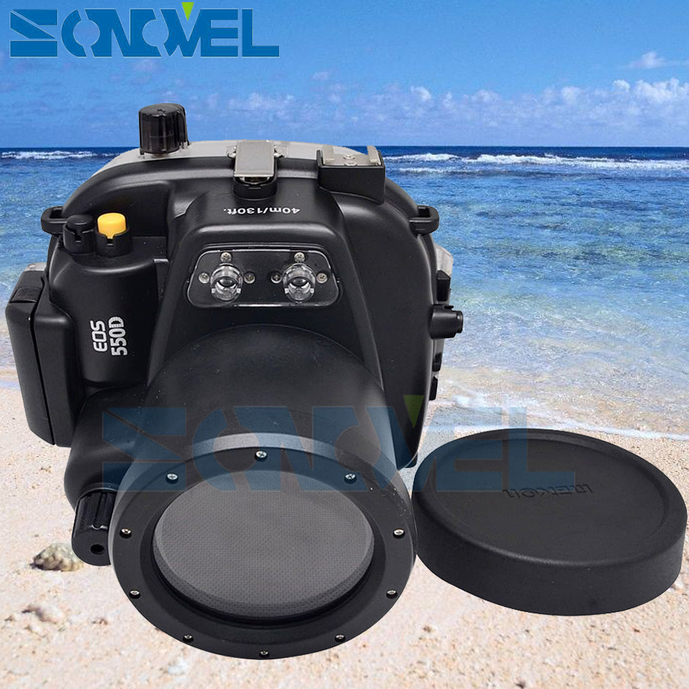 Meikon 40m 130ft Waterproof Underwater Diving Case Camera Housing Case For Canon EOS 500D / Rebel T2i With 18-55mm Lens 40m 130ft waterproof underwater camera diving housing case aluminum handle for sony a7 a7r a7s 28 70mm lens camera