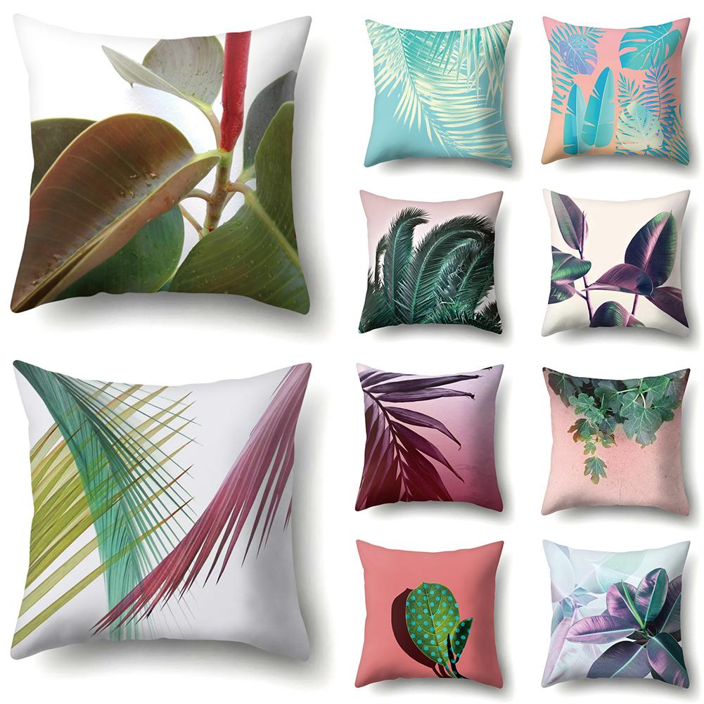 Plant Leaf Printed Pillow Case Cover Square Cushion Cover Throw Polyester Pillow Case Car Home Sofa Decoration Holiday Gift in Cushion Cover from Home Garden