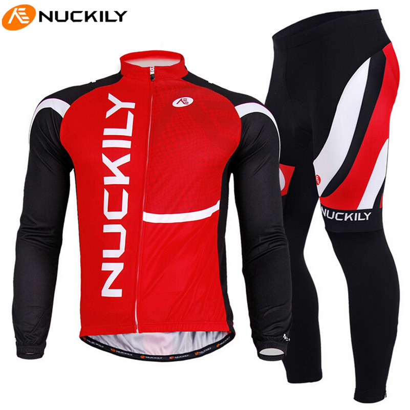 цена на NUCKILY Men Red Black Long Sleeve Breathable Jacket Pants MTB Bike Bicycle Cycling Jersey Set Sport Clothing Maillot Ciclismo