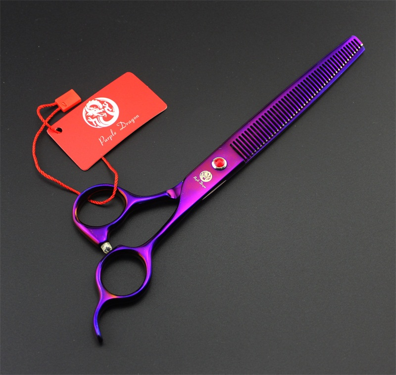 Purple dragon 8.0 inch Professional dog grooming scissors Straight & Curved & Thinning Shears Sharp Edge Animals Hair Cutting (9)