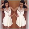 New Fashion Summer Dresses Models White Dress Women Sexy V-neck Lace Short Dress