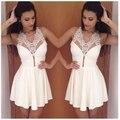 Vestidos de Verano nueva Moda Modelos Blanco Vestido Atractivo de Las Mujeres Con Cuello En V Vestido Corto de Encaje