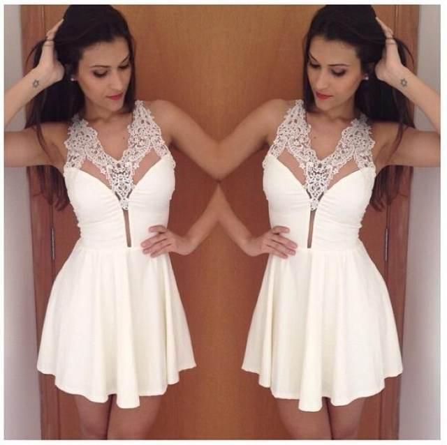 664dc11b7d146 placeholder Yeni Moda Yaz Elbise Modelleri Beyaz Elbise Kadın Seksi V Yaka  Dantel Kısa Elbise